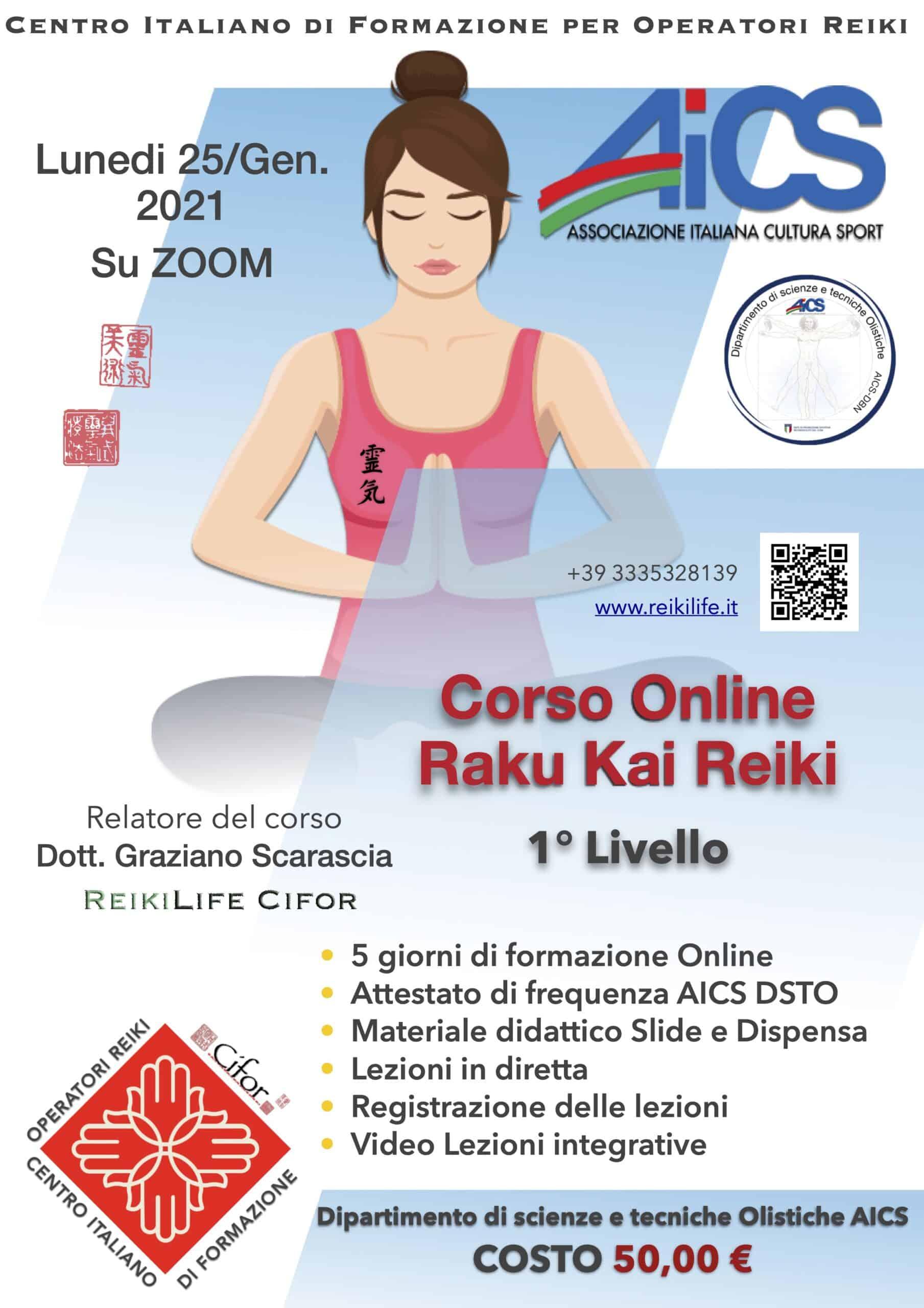 Corso online raku Kai Reiki 1 livello 25 gennaio 2021
