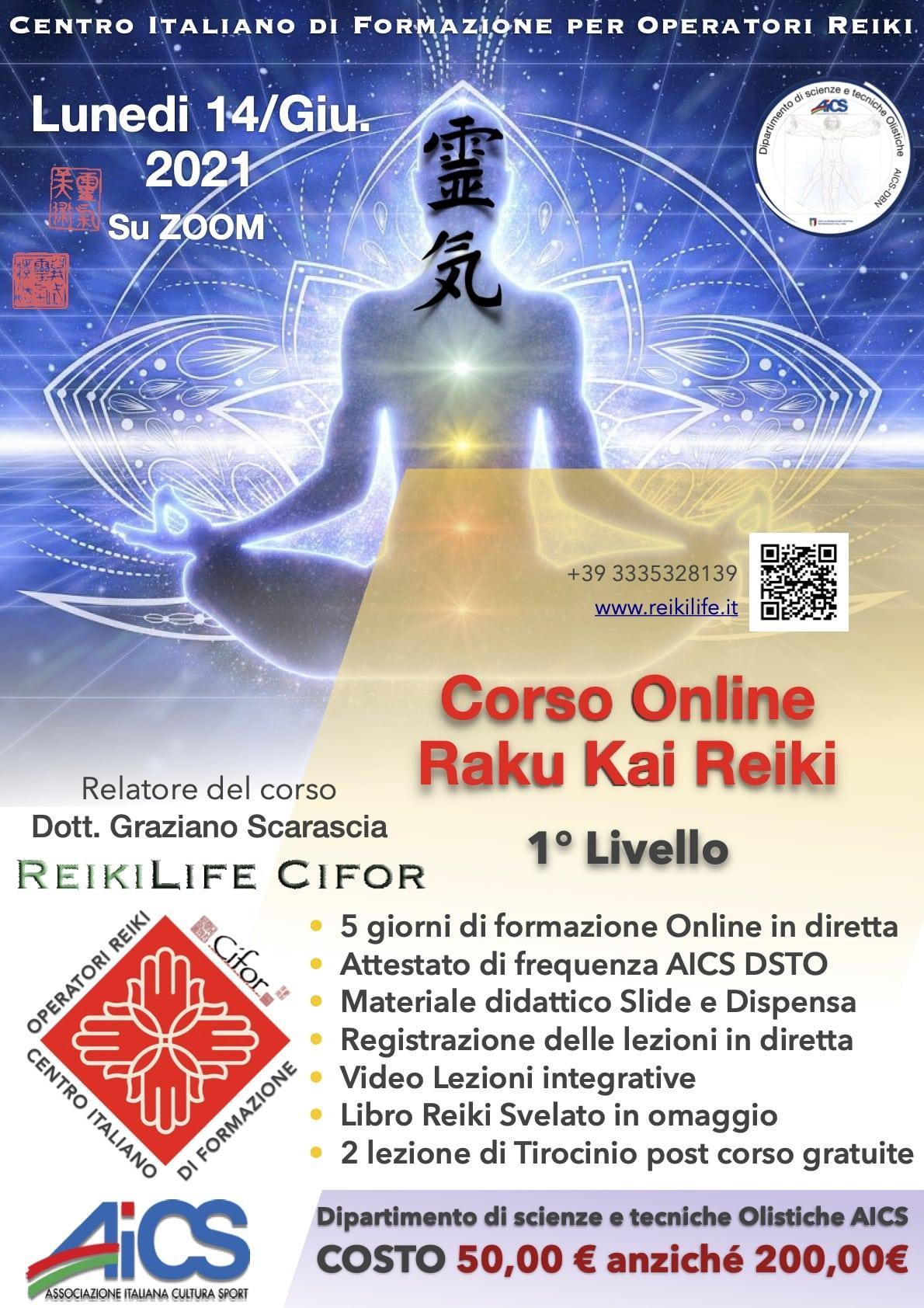 Corso online raku Kai Reiki 1 livello 14 giugno 2021