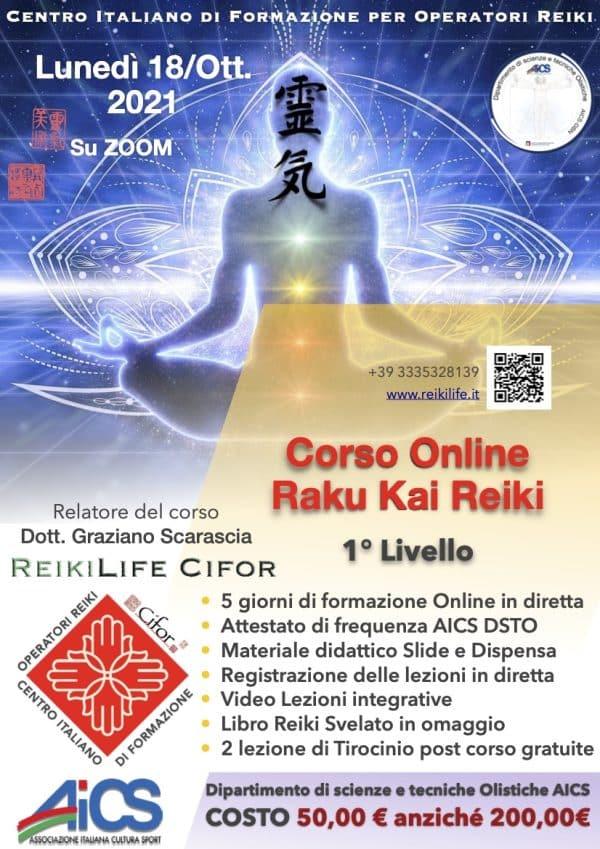 Corso online raku Kai Reiki 1 livello 18 ottobre 2021